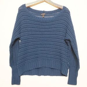 Express Teal Chunky Open Knit Crop Sweater